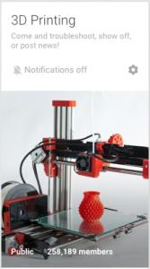 G+ 3D Printing Community